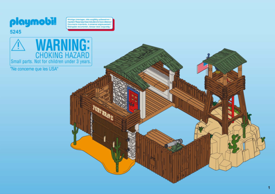 Building instruction playmobil 5245 western fort for Plan chateau fort playmobil